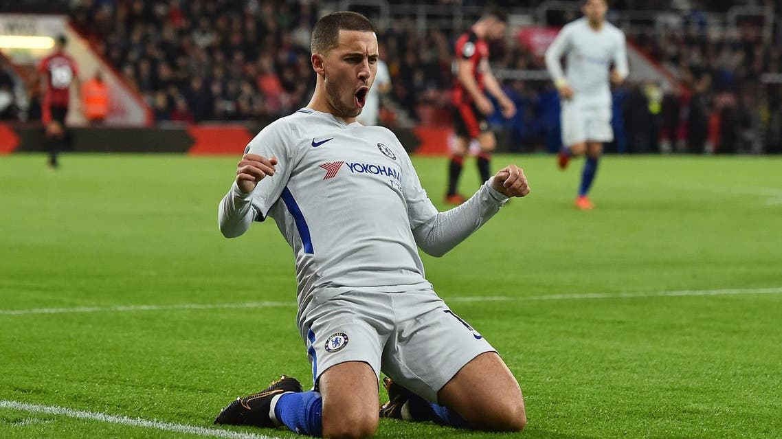 Chelsea's Belgian midfielder Eden Hazard celebrates after scoring the opening goal of the English Premier League football match between Bournemouth and Chelsea at the Vitality Stadium in Bournemouth, southern England on October 28, 2017. (AFP)