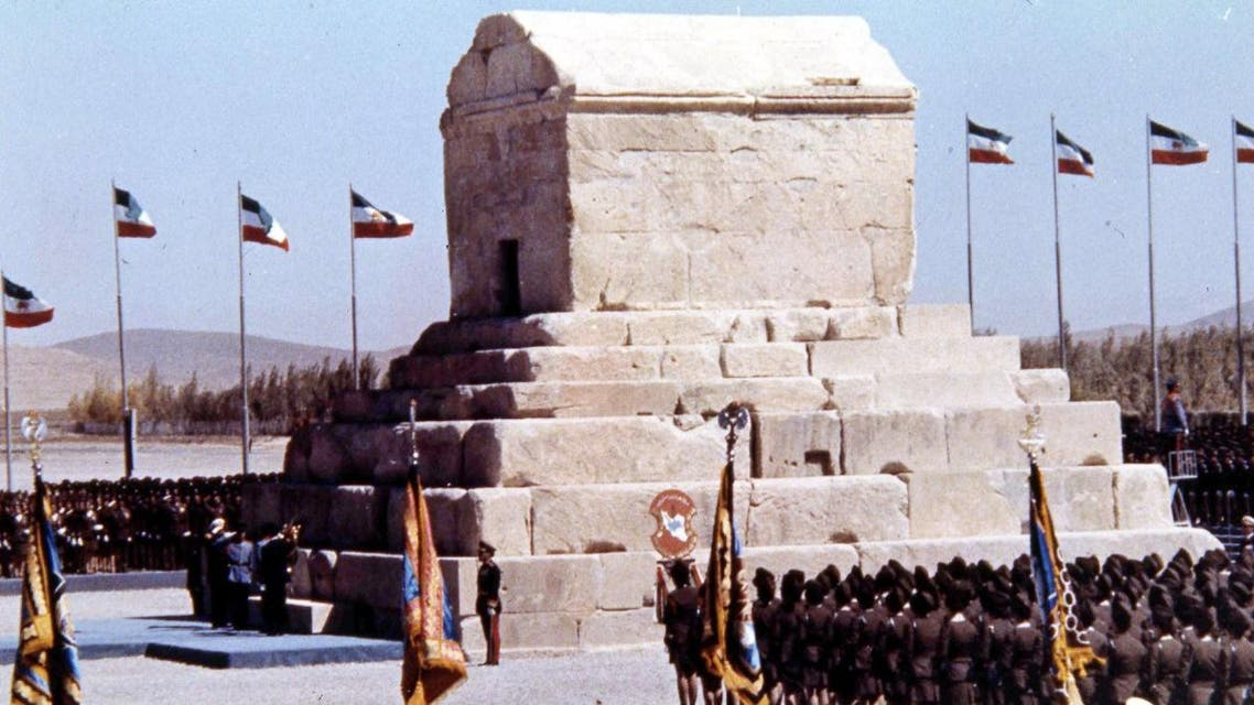 Honour guards are formed up during ceremonies to mark the 2,500 anniversary of the founding of the Persian Empire at the Tomb of Cyrus the Great, at Pasargadae, Iran, Oct. 12, 1971. (AP)