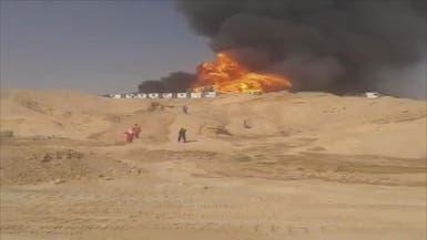 فيديو.. 4 قتلى في حريق منصة نفطية بجنوب إيران
