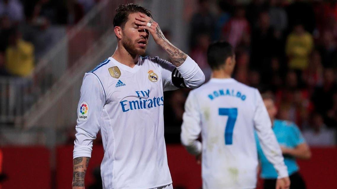 Soccer Football - Liga Santander - Girona vs Real Madrid - Estadi Montilivi, Girona, Spain - October 29, 2017 Real Madrid's Sergio Ramos looks dejected REUTERS/Juan Medina