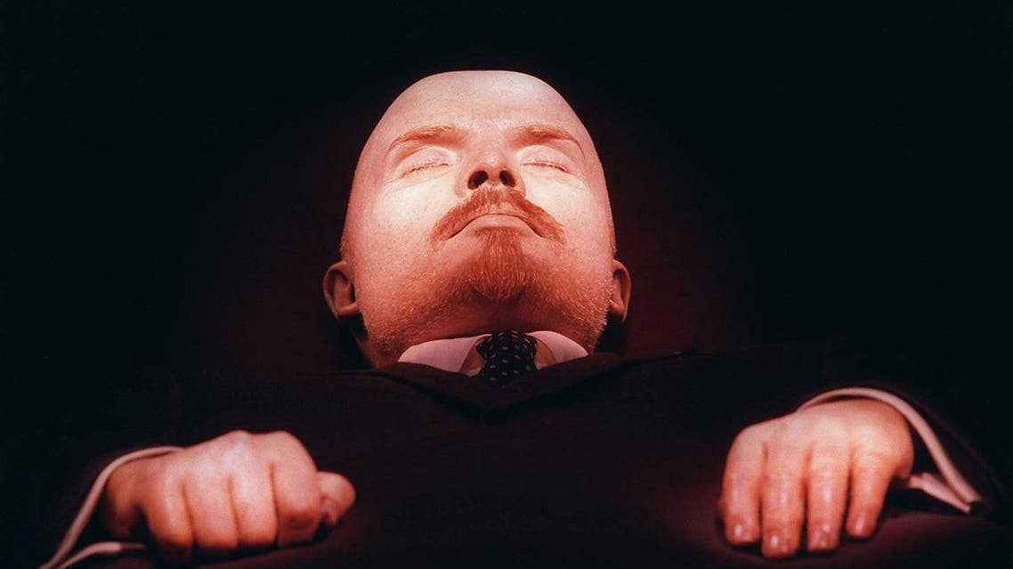 Vladimir Lenin, founder of the Soviet Union, lays embalmed in his tomb on Moscow's Red Square Wednesday April 16, 1997. (AP)