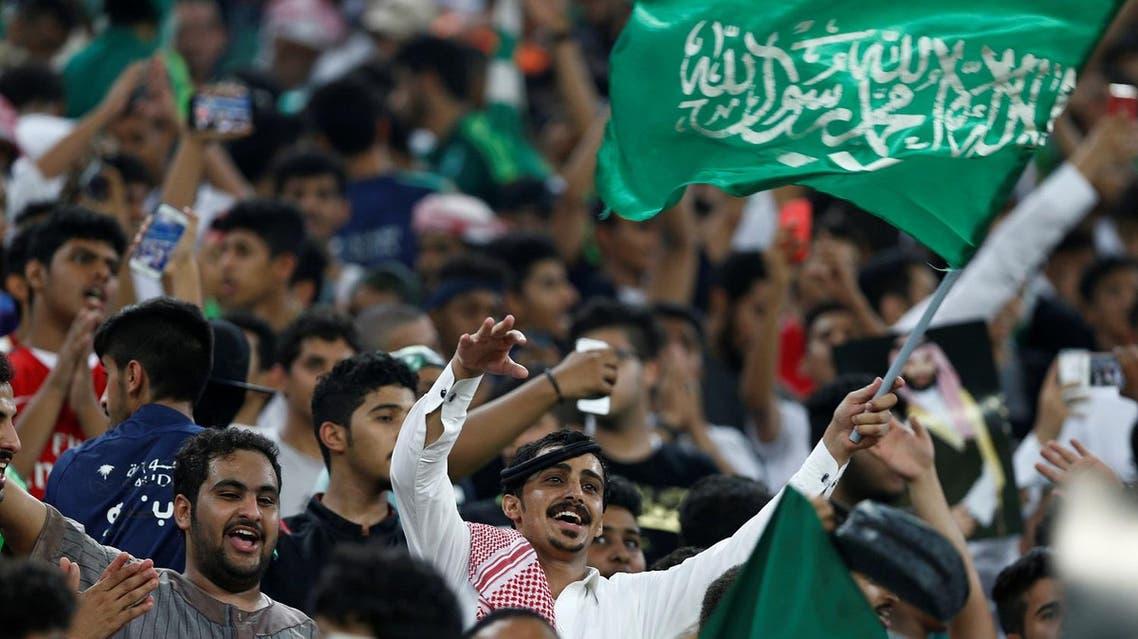 Soccer Football - 2018 World Cup qualifications - Saudi Arabia v Japan - Jeddah, Saudi Arabia - September 5, 2017 - Fans of of Saudi Arabia cheer and chant before the start of their soccer match against Japan. REUTERS/Faisal Al Nasser