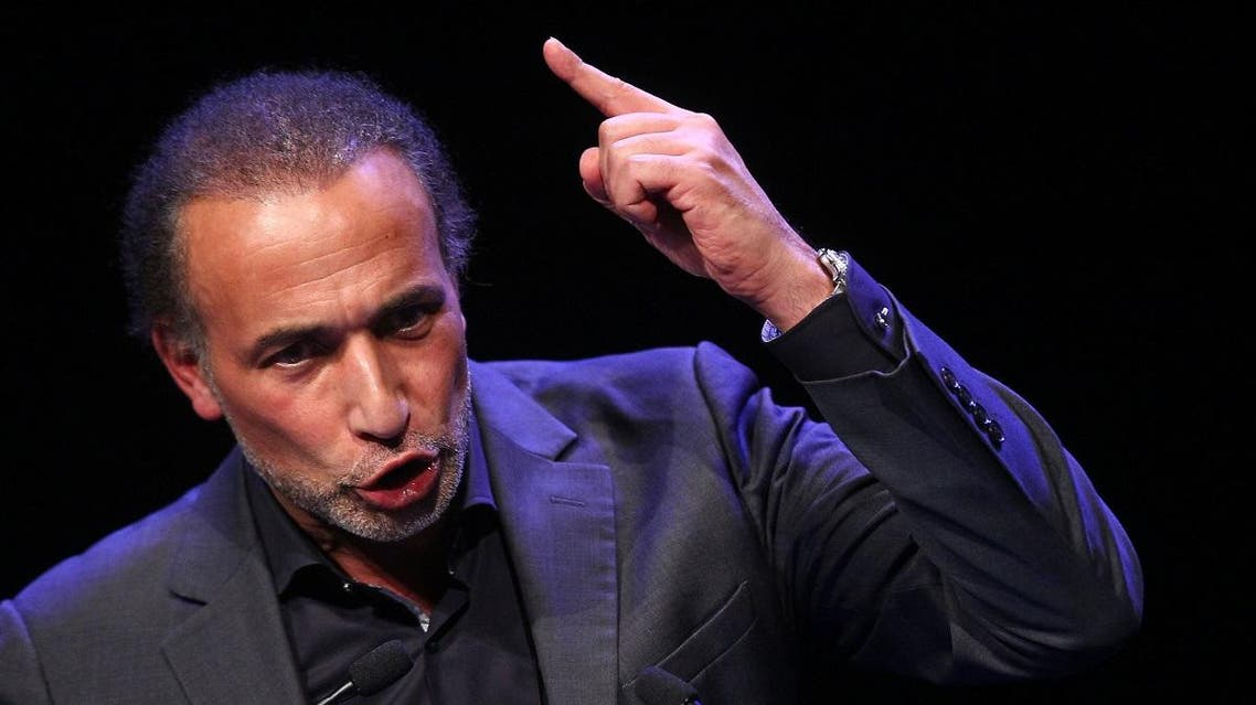 Muslim scholar Tariq Ramadan delivers a speech during a French Muslim organizations meeting in Lille, northern France, Sunday Feb.7, 2016. (AP)
