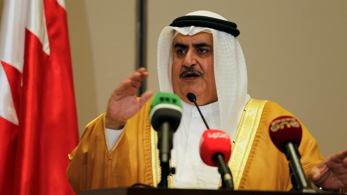 Bahraini Foreign Minister Sheik Khalid bin Ahmed Al Khalifa speaks to media after the foreign ministers of Saudi Arabia, Bahrain, the United Arab Emirates and Egypt meeting to discuss their dispute with Qatar, in Manama, Bahrain July 30, 2017. REUTERS/Hamad I Mohammed