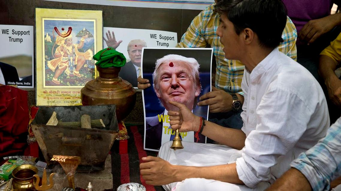 Activists of right-wing Hindu Sena or Hindu Army conduct Hindu rituals to ensure a win for U.S. presidential candidate Donald Trump in New Delhi, India, Wednesday, May 11, 2016. (AP)