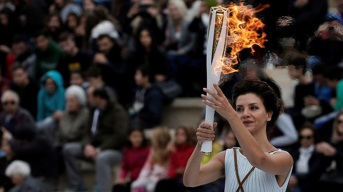 Athletics Olympic - Flame Handover Ceremony For Pyeongchang 2018 Olympics - Panathenaic Stadium, Athens, Greece - October 31, 2017. (Reuters)