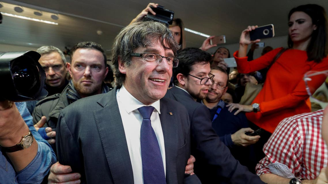 Sacked Catalan leader Carles Puigdemont arrives for a news conference at the Press Club Brussels Europe in Brussels, Belgium, October 31, 2017. REUTERS/Yves Herman