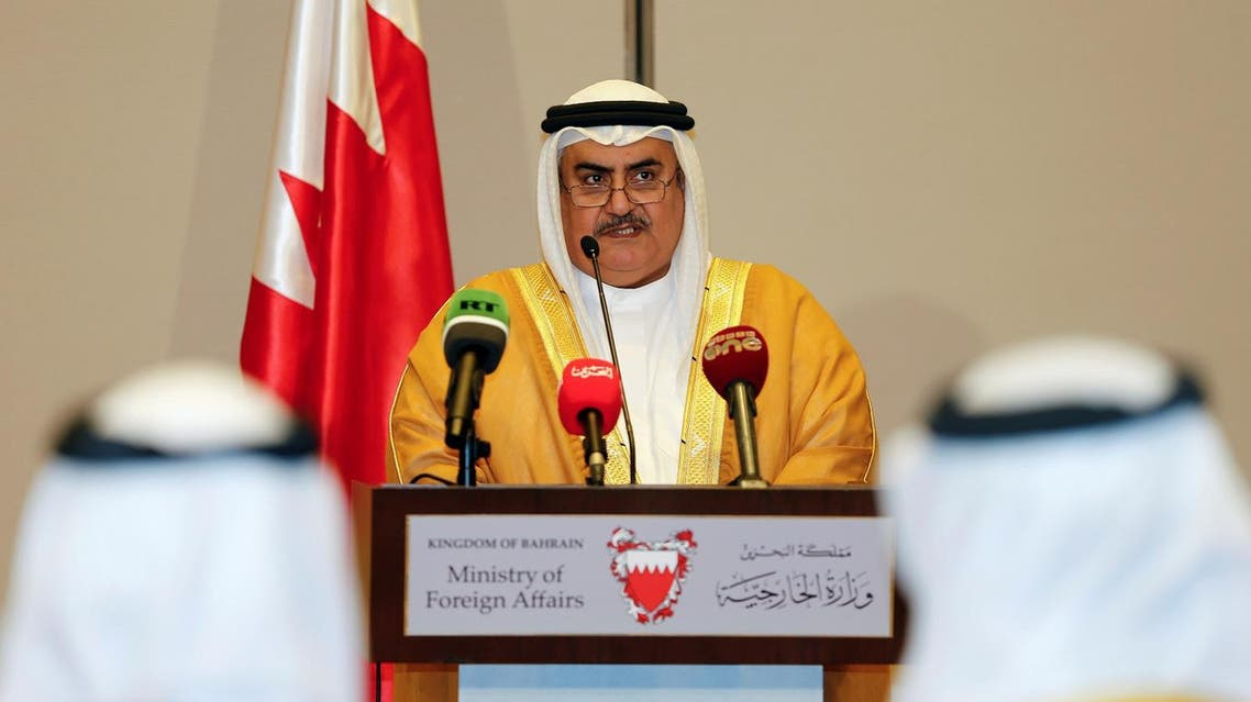 Bahraini Foreign Minister Sheik Khalid bin Ahmed Al Khalifa reads the joint statement after the foreign ministers of Saudi Arabia, Bahrain, the United Arab Emirates and Egypt meeting to discuss their dispute with Qatar, in Manama, Bahrain July 30, 2017. REUTERS/Hamad I Mohammed
