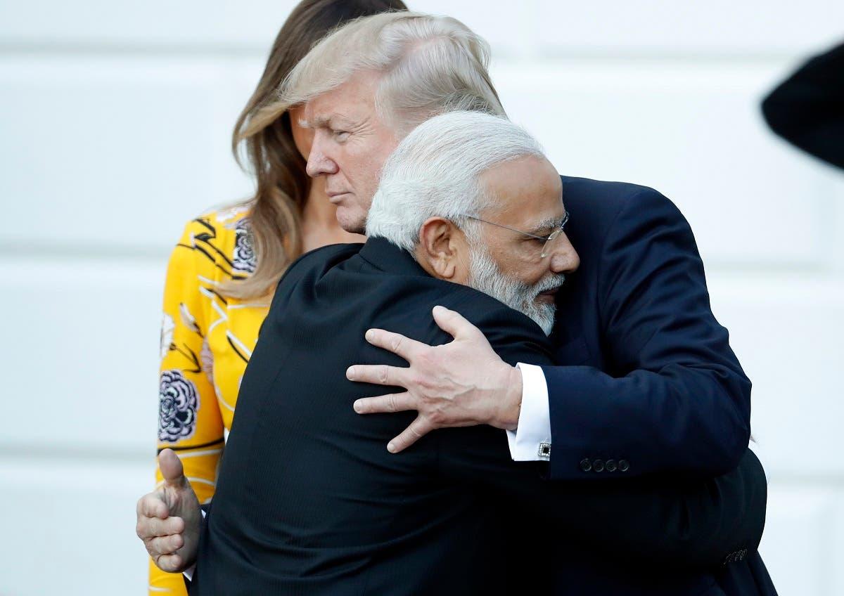 Indian Prime Minister Narendra Modi hugs President Donald Trump as Modi departs the White House, Monday, June 26, 2017, in Washington. (AP)