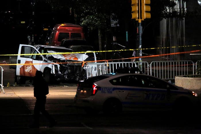 The pickup truck used in an attack on the West Side Highway sits behind police tape in Manhattan, New York, U.S., November 1, 2017. (Reuters)
