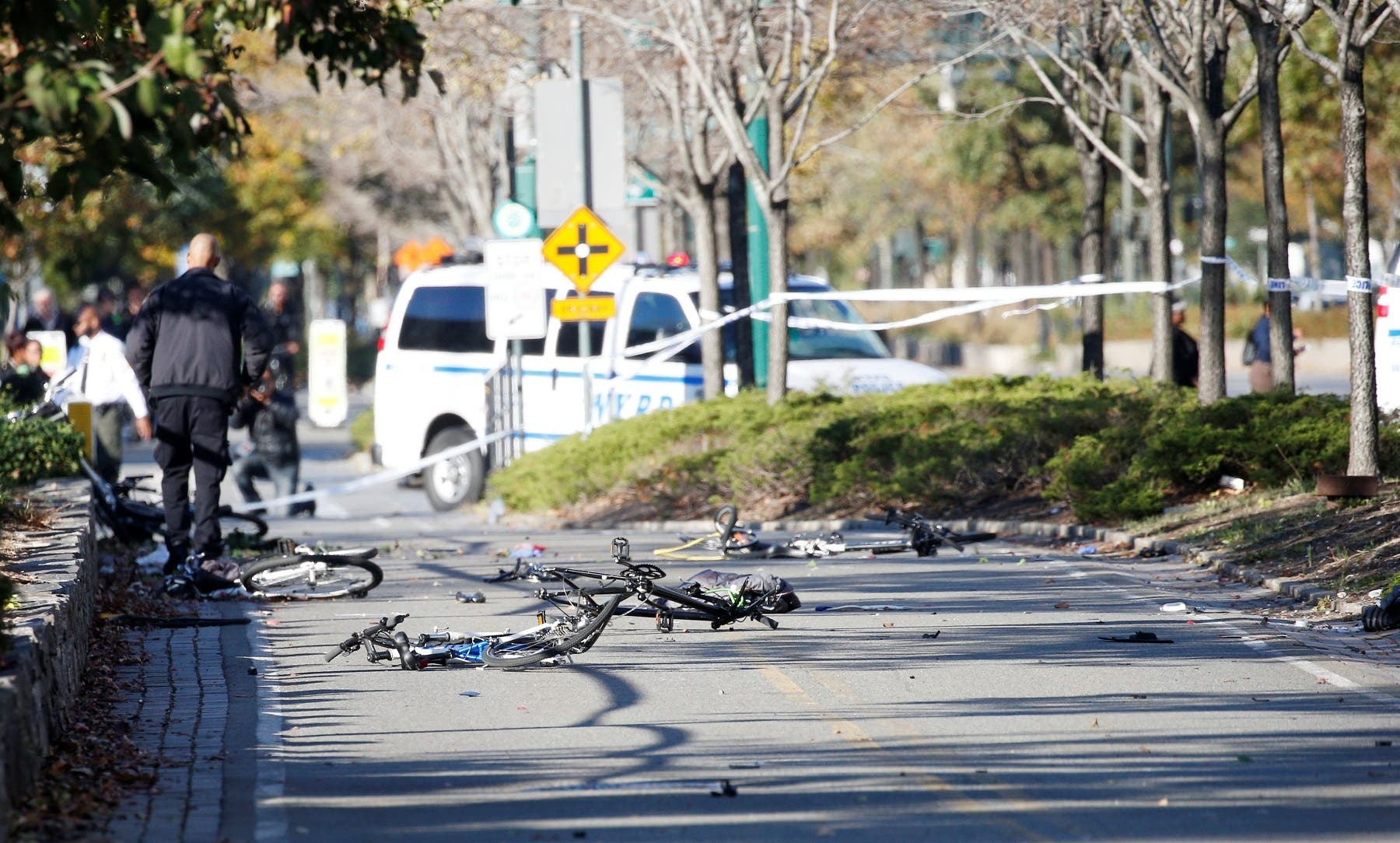 Multiple bikes are crushed along a bike path in lower Manhattan in New York. (Reuters)