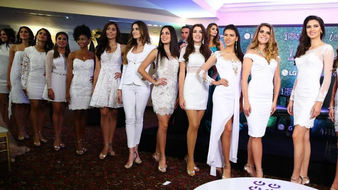 Miss Peru contestants who protested abuse and sexual violence in the second most violent country in South America against women after Bolivia. (Trome.pe)