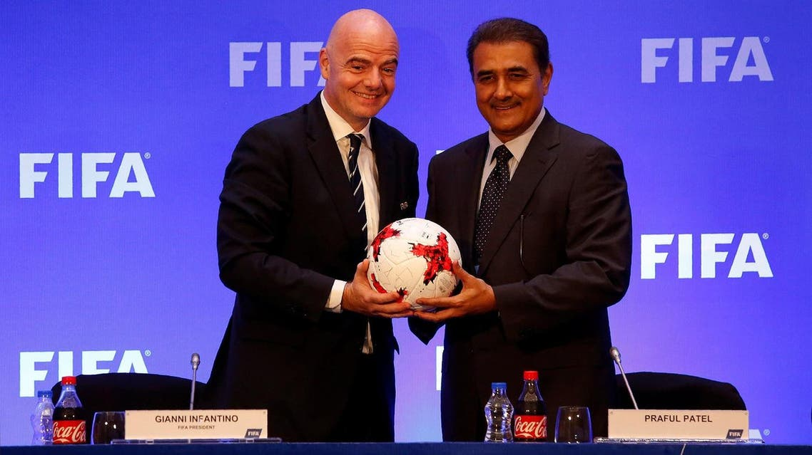FIFA President Gianni Infantino and All India Football Federation (AIFF) President Praful Patel pose at a news conference in Kolkata, India, on October 27, 2017. (Reuters)