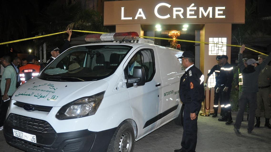 """Police work a crime scene after two men opened fire at the cafe """"La Crème,"""" located in the tourist area of Hivernage in Marrakech, Morocco, on November 2, 2017. (AFP)"""