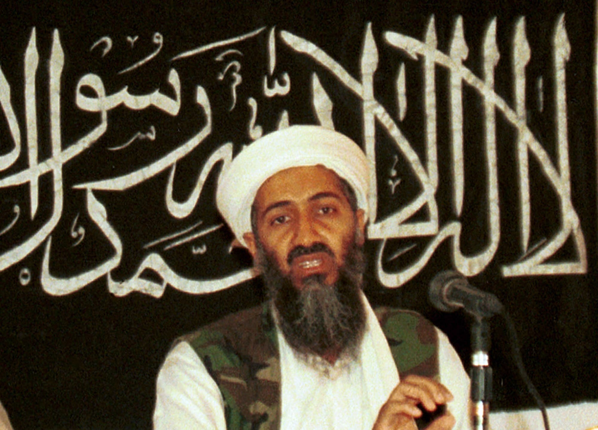 In this 1998 file photo made available on March 19, 2004, Osama bin Laden is seen at a news conference in Khost, Afghanistan. (AP)