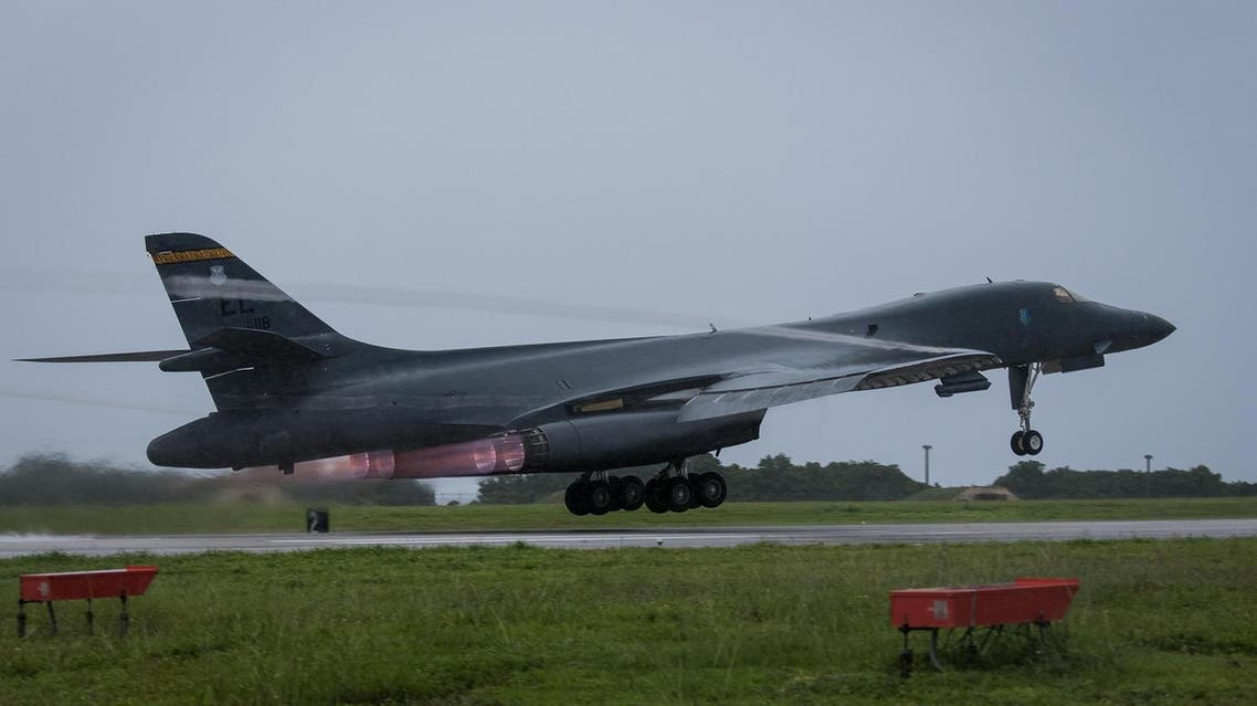 File photo of  US Air Force B-1B Lancer bomber assigned to the 37th Expeditionary Bomb Squadron, deployed from Ellsworth Air Force Base, South Dakota, takes off from Andersen Air Force Base, Guam. (AP)