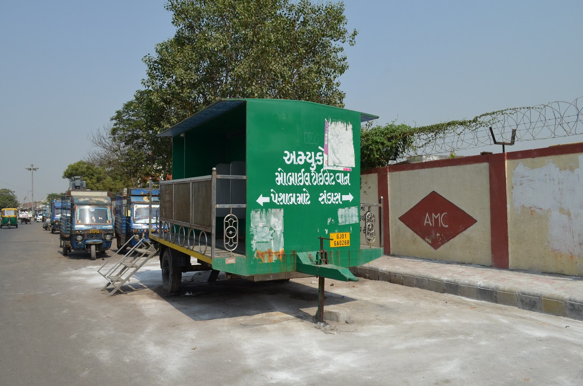 Many of these mobile toilets lie unused thanks to non-availability of water. (Supplied)
