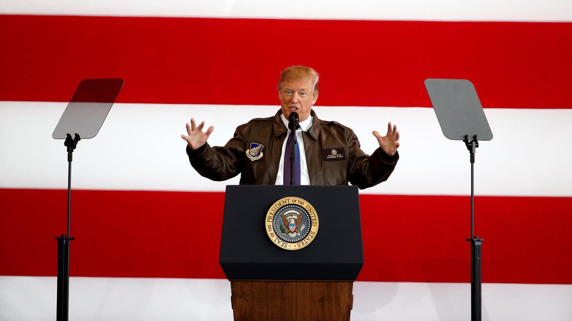 U.S. President Donald Trump addresses members of U.S. military services and Japan Self-Defense Force (JSDF) at U.S. Air Force Yokota Air Base in Fussa, on the outskirts of Tokyo, Japan, November 5, 2017. REUTERS/Toru Hanai