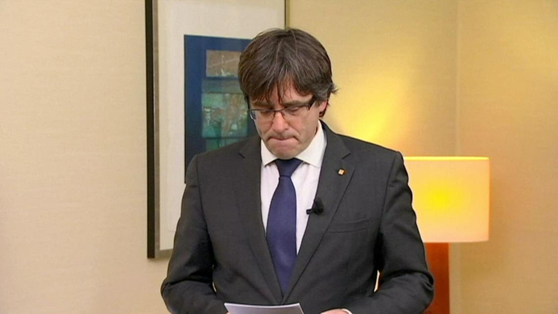 """Sacked Catalan President Carles Puigdemont makes a statement in this still image from video calling for the release of """"the legitimate government of Catalonia"""", after a Spanish judge ordered nine Catalan secessionist leaders to be held in custody pending a potential trial over the region's independence push, in Brussels, Belgium, November 2, 2017. TV3 via REUTERS TV SPAIN OUT. NO COMMERCIAL OR EDITORIAL SALES IN SPAIN"""