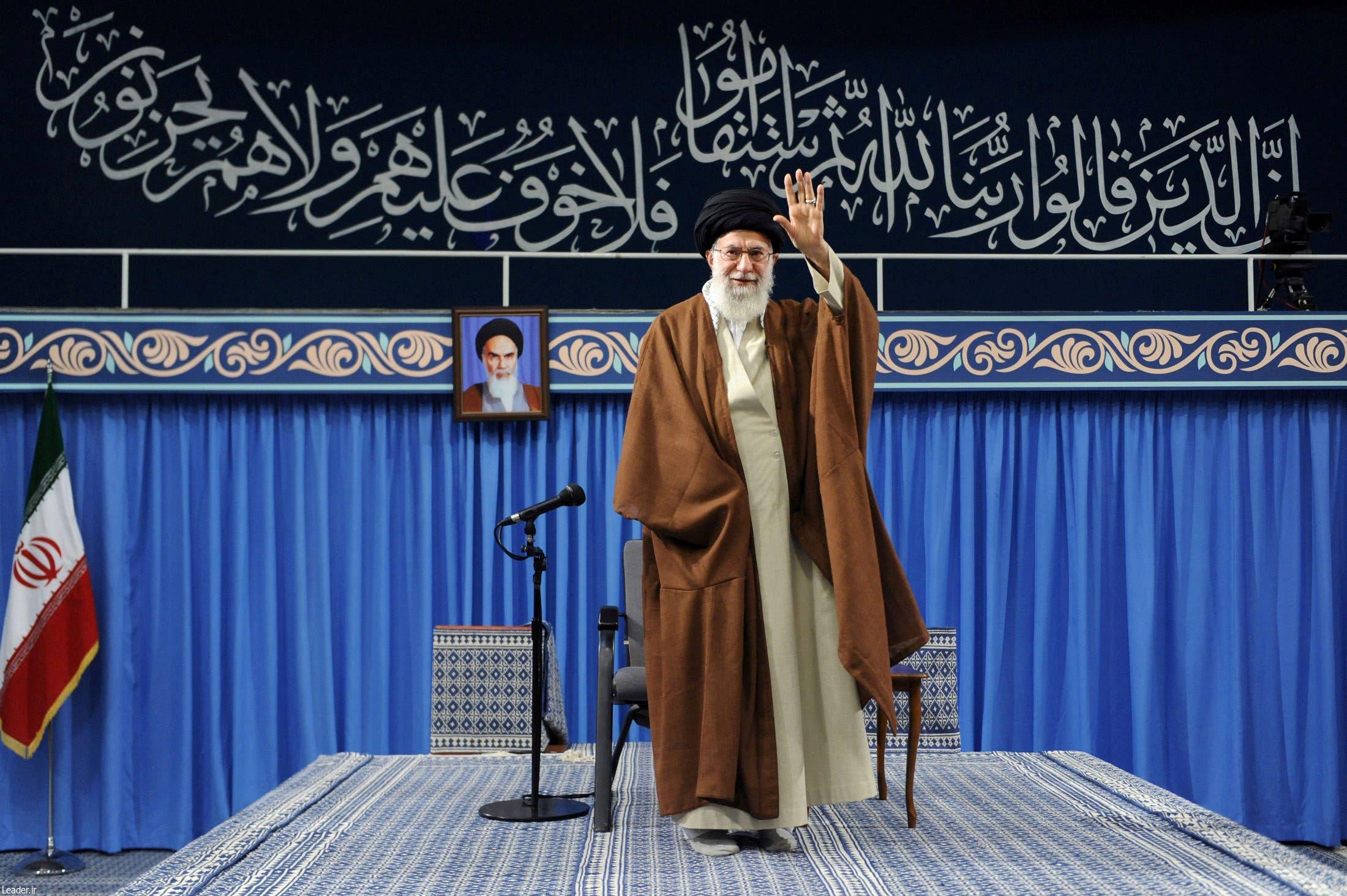 Ayatollah Ali Khamenei arrives to deliver a speech in Tehran on November 2, 2017. (Reuters)