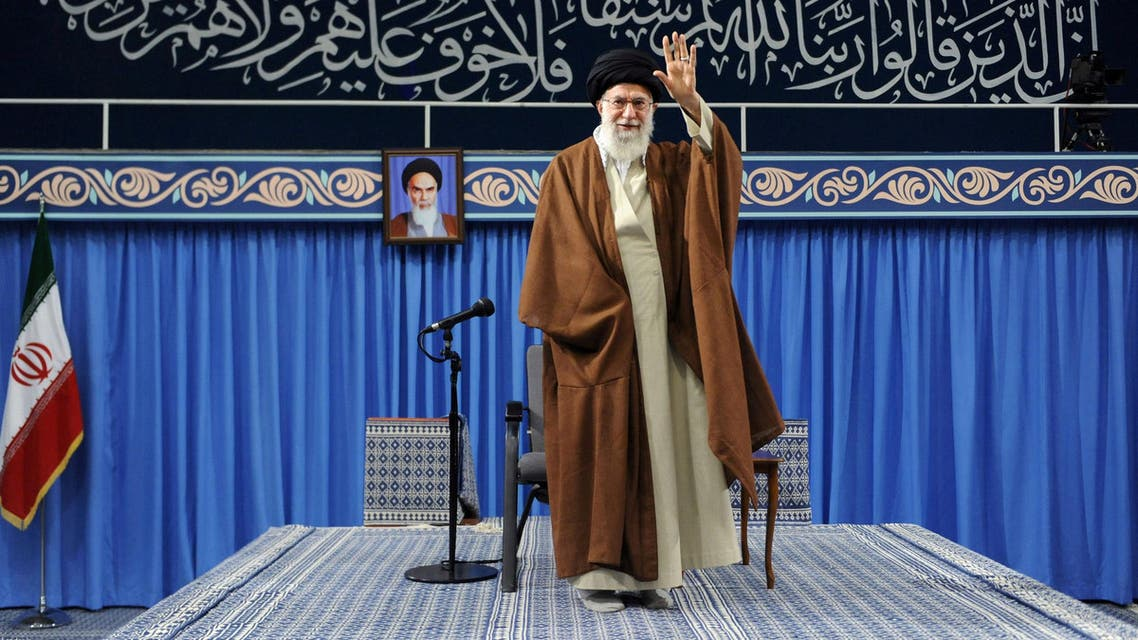 Ayatollah Ali Khamenei arrives to deliver a speech in Tehran on November 2, 2017. (Reuters)