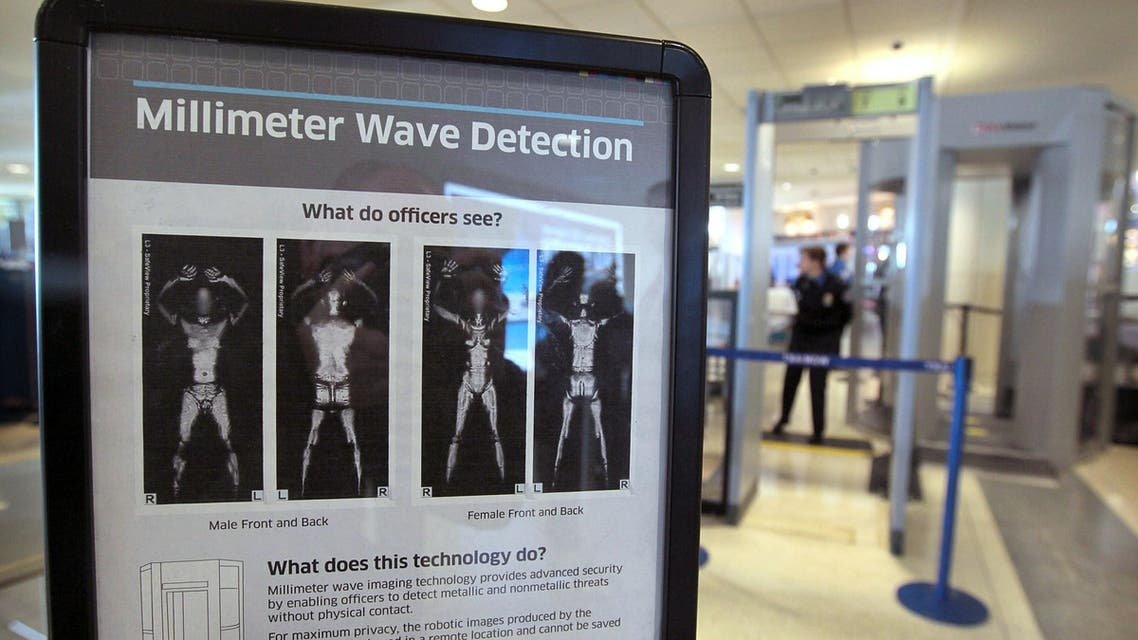 CHICAGO, IL - DECEMBER 15: A sign informs travelers about Millimeter Wave Detection technology used in full body scanners at Midway Airport December 15, 2010 in Chicago, Illinois. Transportation Security Administration agents began using the new scanners at the airport for the first time today. Scott Olson/Getty Images/AFP SCOTT OLSON / GETTY IMAGES NORTH AMERICA / AFP