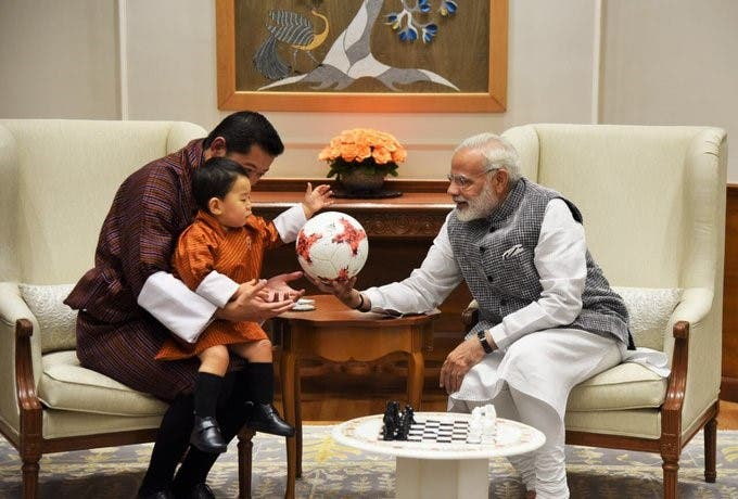 Modi presents the crown prince a FIFA U-17 World Cup football. (Supplied)
