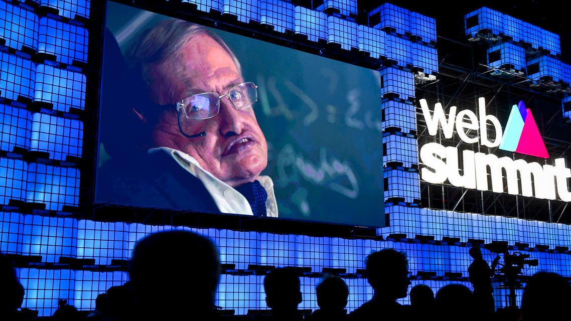 British cosmologist Stephen Hawking delivers a video message during the opening ceremony of the 2017 Web Summit in Lisbon on November 6, 2017. AFP