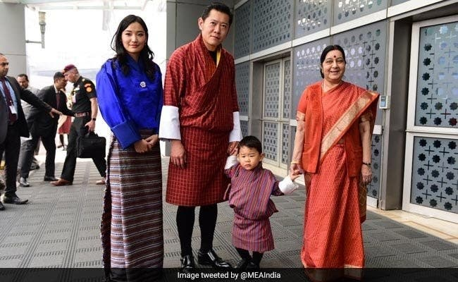 Foreign Minister, Sushma Swaraj, who received the royals from Bhutan at the airport, was the first VVIP to be clean bowled by the toddler. (Supplied)