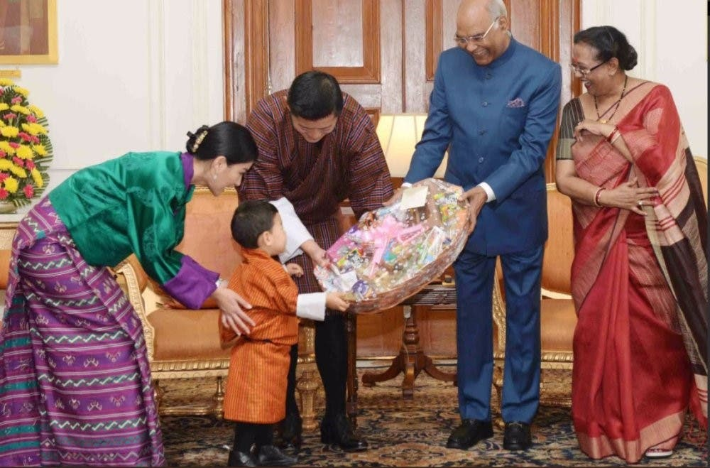 The First Lady, Savita Kovind, was besotted by the toddler who received a hamper roughly his size. (Supplied)