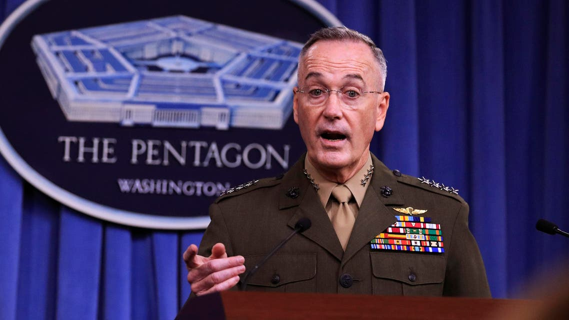 Joint Chiefs Chairman Gen. Joseph Dunford, speaks to reporters about the Niger operation during a briefing at the Pentagon, Monday, Oct. 23, 2017. (AP