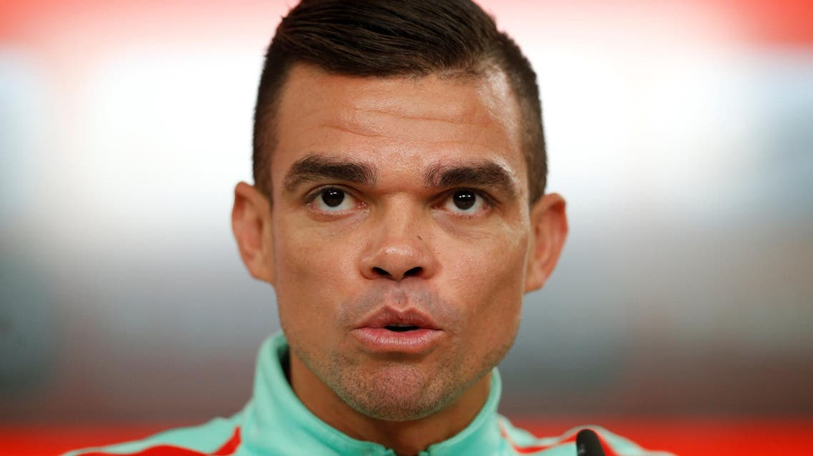 Portugal's player Pepe attends a news conference.reuters