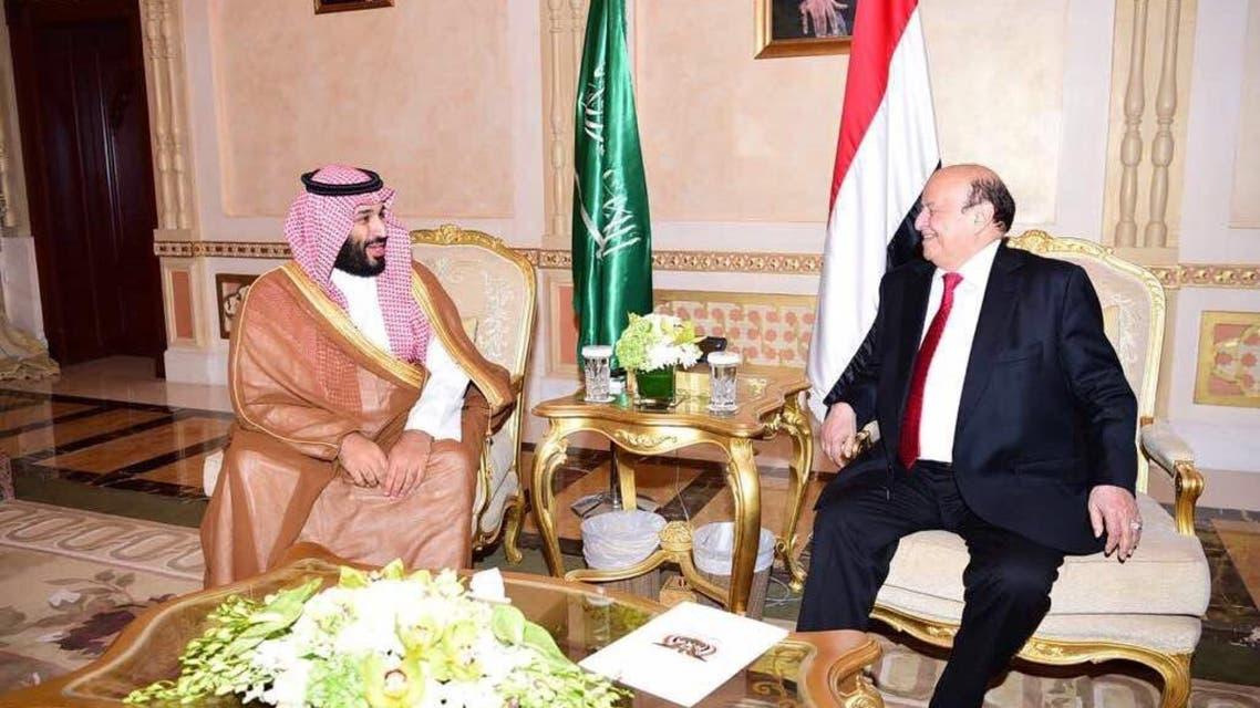 ولي العهد يبحث مع الرئيس اليمني مستجدات الأزمة اليمنية