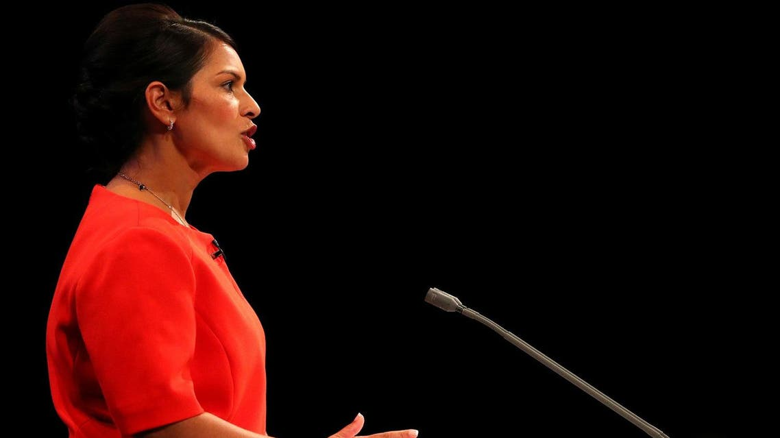 Britain's Secretary of State for International Development Priti Patel addresses the Conservative Party conference in Manchester, October 3, 2017. (Reuters)
