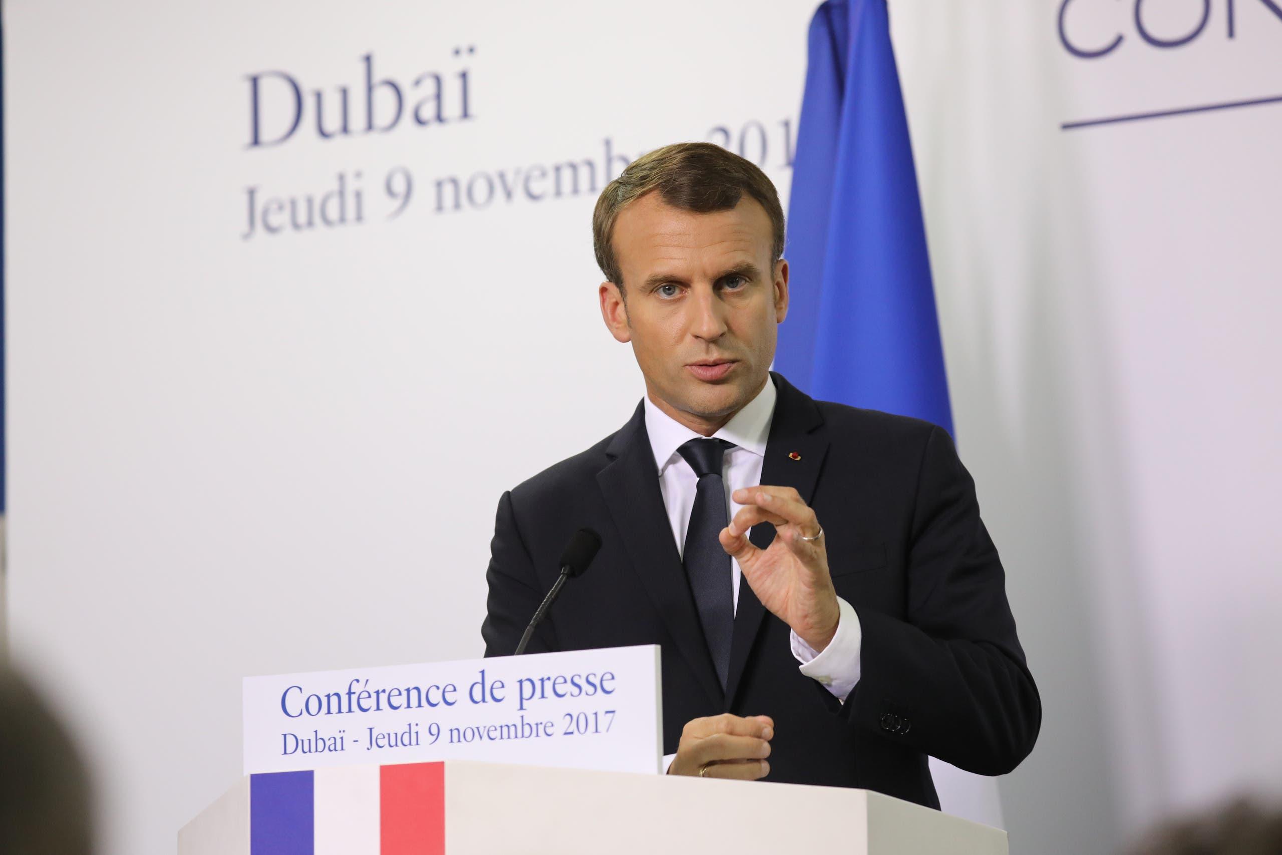 ماكرون خلال مؤتمر صحافي في دبي 9-11-2017