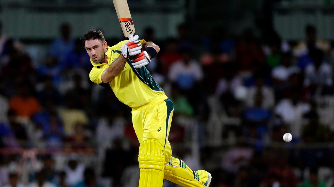Glenn Maxwell bats during a cricket match between India and Australia in Chennai, India, on Sept. 17, 2017. (AP)