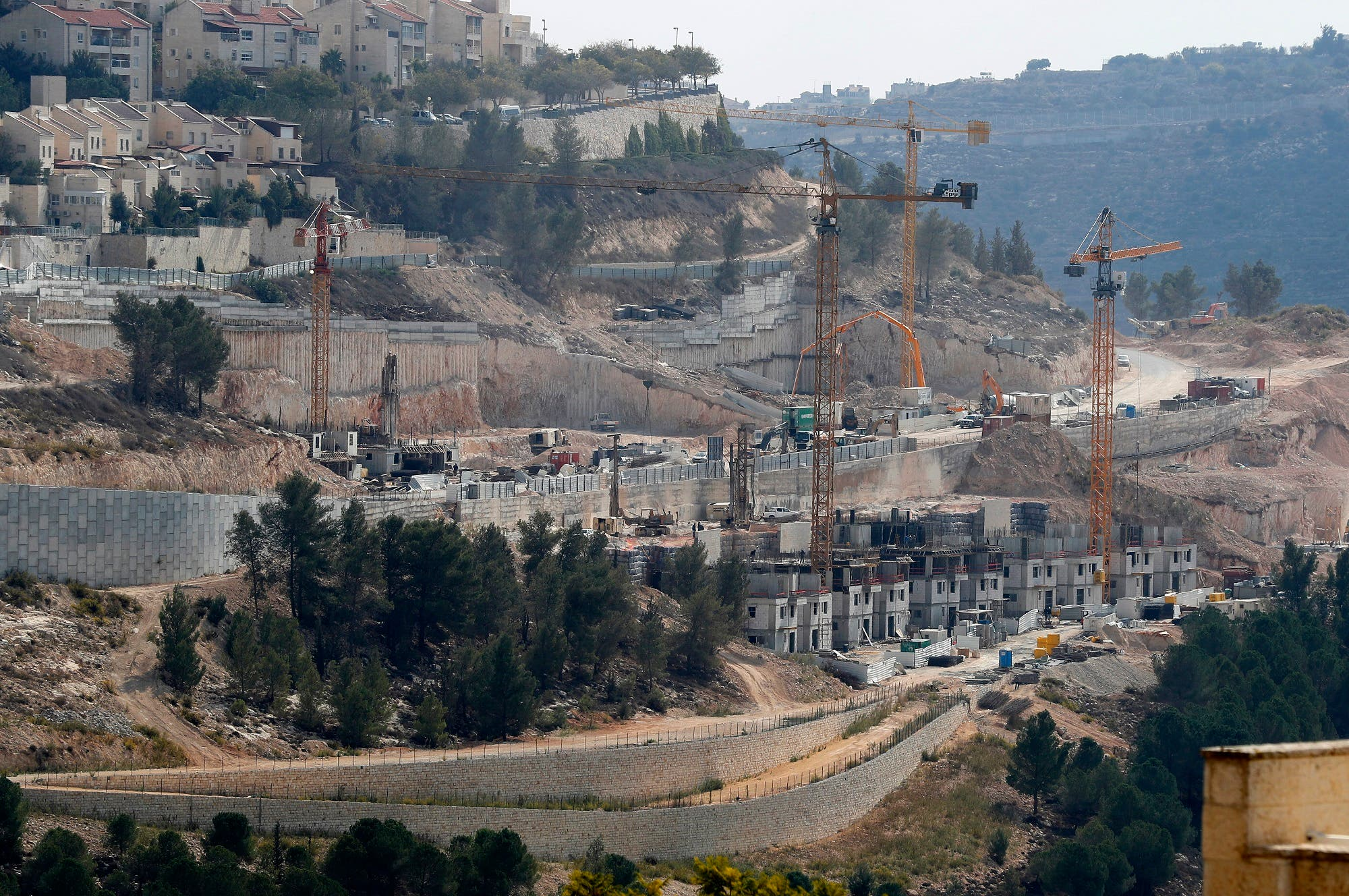 This November 8, 2017, photo shows a general view of construction work in Gilo, a Jewish settlement in the mainly Palestinian eastern sector of Jerusalem. (AFP)