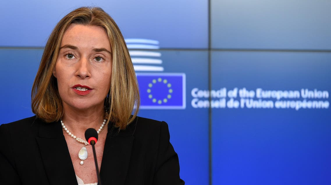 High Representative of the Union for Foreign Affairs and Security Policy Federica Mogherini gives a press conference following a EU Foreign Affairs meeting in Luxembourg on October 16, 2017.  JOHN THYS / AFP