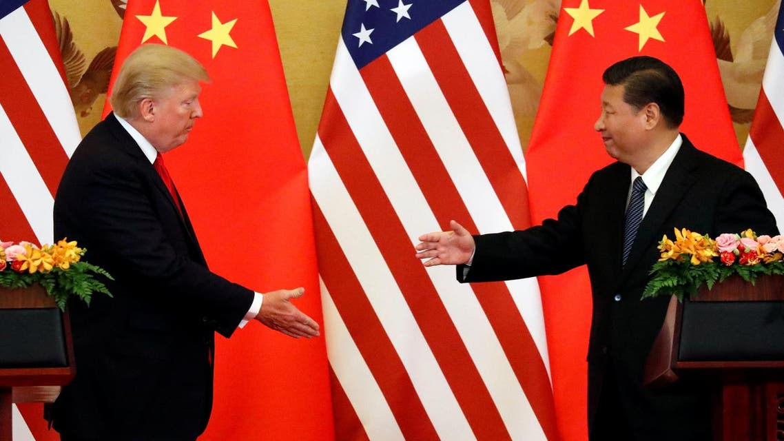 Trump and Xi Jinping at the Great Hall of the People in Beijing on November 9, 2017. (Reuters)