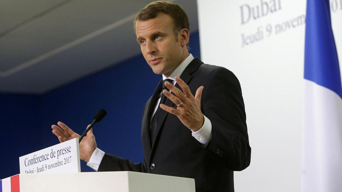 French President Emmanuel Macron gestures during a news conference in Dubai, UAE, November 9, 2017. (Reuters)