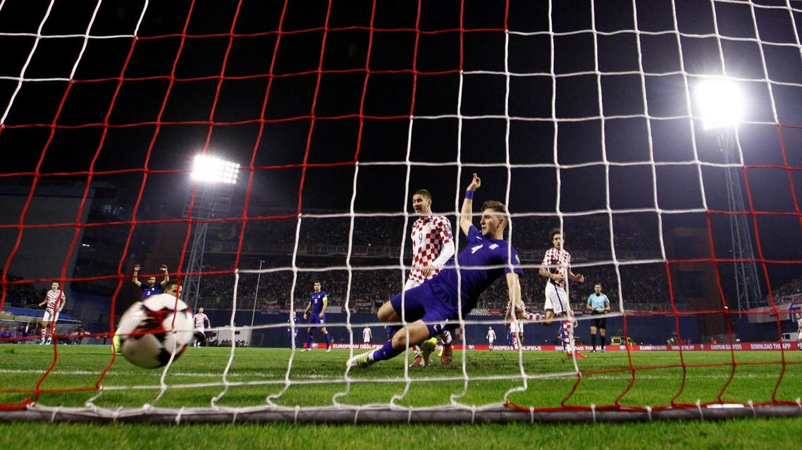 Croatia's Andrej Kramaric scores their fourth goal. (Reuters)