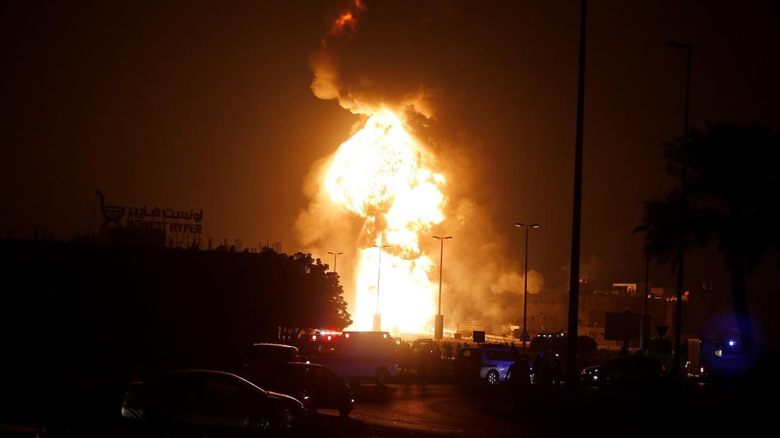 Fire at the Bapco oil pipeline in the village of Buri in Bahrain on Friday. (Reuters)