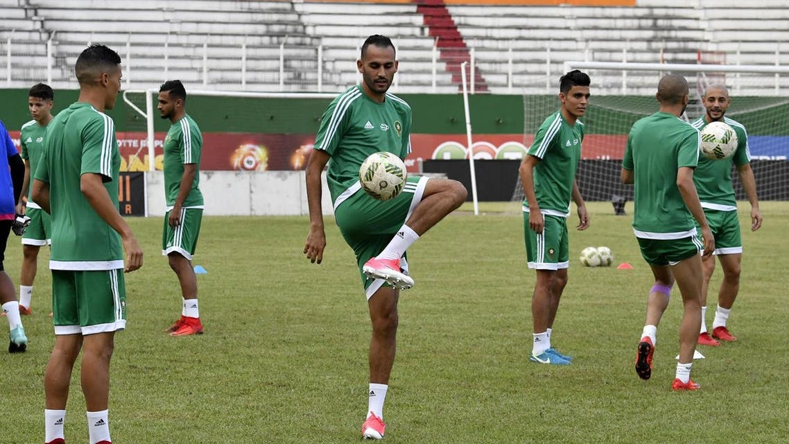 Morocco's players take part in a training session at The Felix Houphouet-Boigny stadium in Abidjan on November 10, 2017, on the eve of their FIFA World Cup 2018 qualifying football match against Ivory Coast. AFP