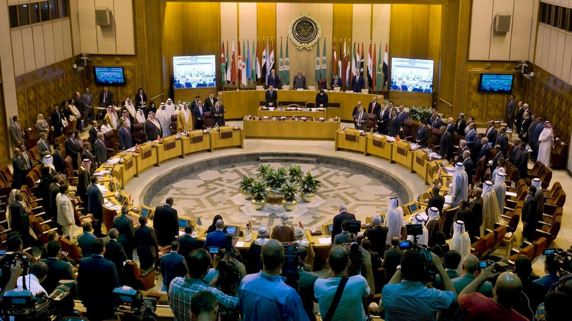 Arab Foreign Ministers and delegations pay a minute of silence to the Arab League deputy chief Ahmed Bin Helli, who died early July, during their urgent meeting at the Arab League headquarters in Cairo, Egypt, Thursday, July 27, 2017. Arab foreign ministers meet to discuss Arab action to the Israeli violations against Jerusalem's Al Aqsa Mosque. (AP Photo/Amr Nabil)