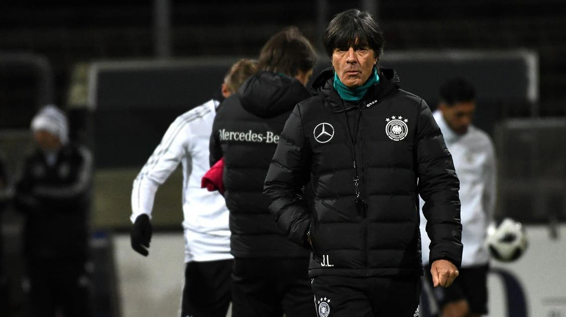Germany's head coach Joachim Loew oversees a training session on the eve of the friendly match Germany v France on November 13, 2017 in Cologne, western Germany.  PATRIK STOLLARZ / AFP