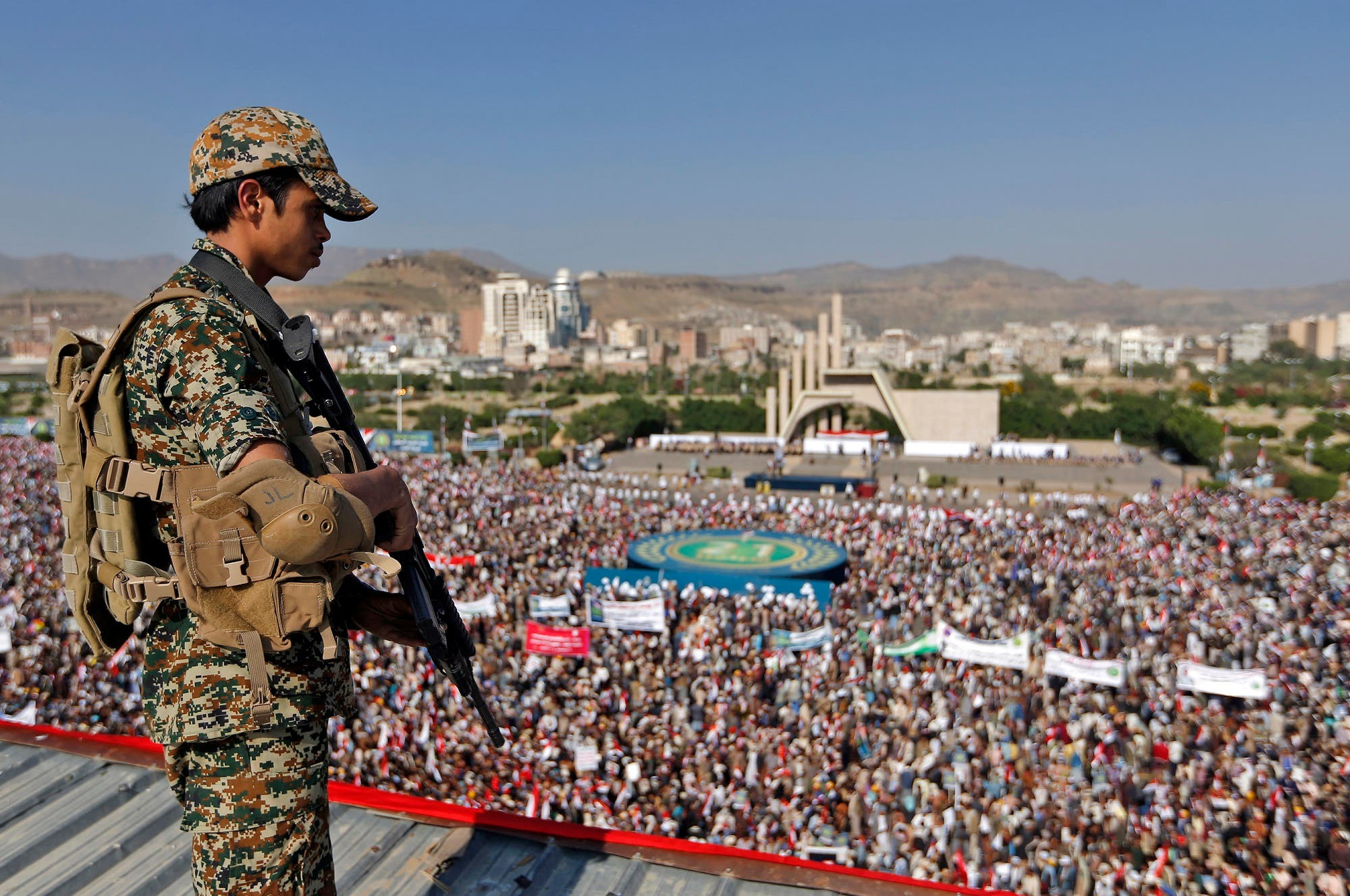 Supporters of Yemen's Iran-backed Houthi rebel movement gather in Sanaa on September 21, 2017 to mark the third anniversary of the rebel takeover. (AFP)