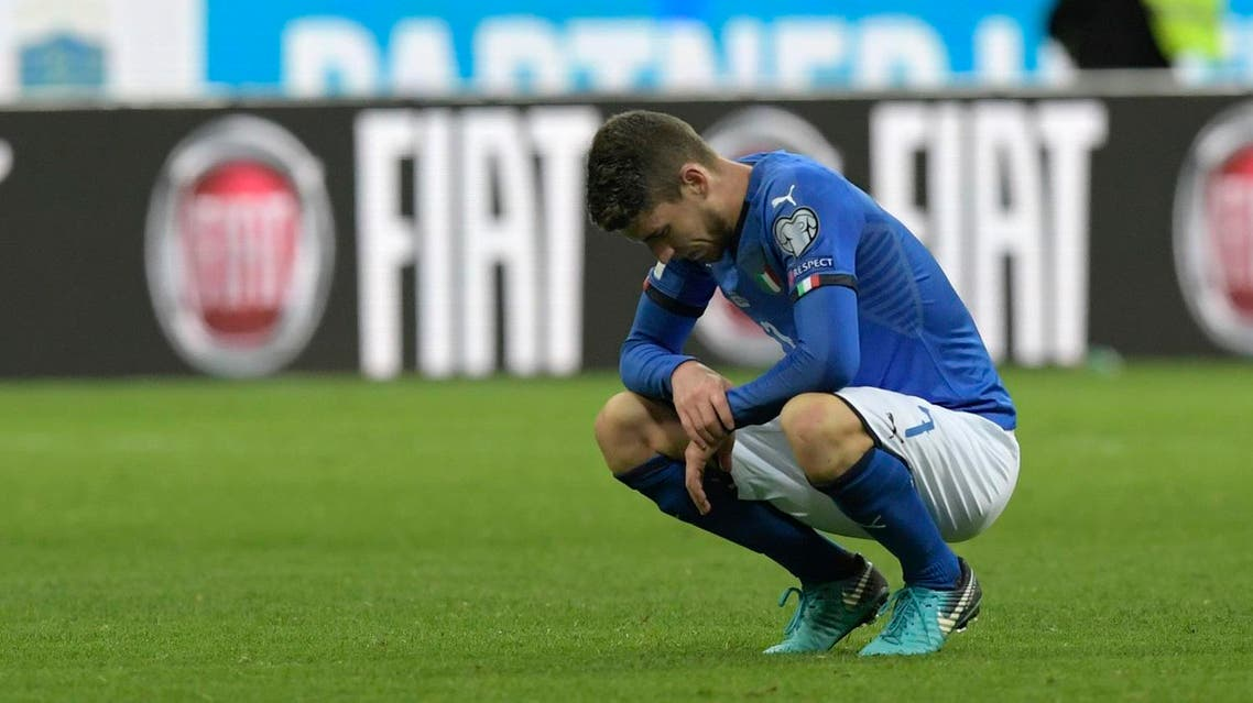 Italy's midfielder Jorginho reacts at the end of the FIFA World Cup 2018 qualification football match between Italy and Sweden, on November 13, 2017 at the San Siro stadium in Milan. Italy failed to reach the World Cup for the first time since 1958 on Monday as they were held to a 0-0 draw in the second leg of their play-off at the San Siro by Sweden, who qualified with a 1-0 aggregate victory. (AFP)