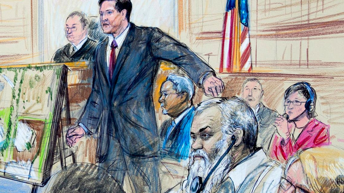 This courtroom sketch depicts Ahmed Abu Khattala listening to a interpreter through earphones at federal court in Washington on Oct. 2, 2017. (AP)
