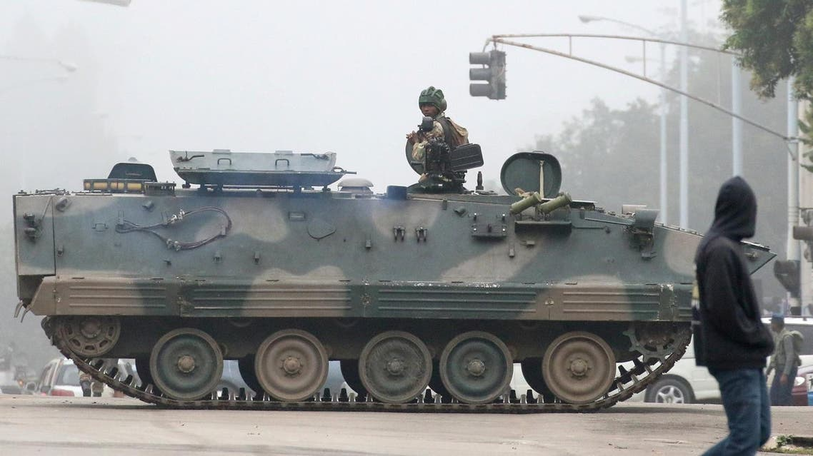 An armored military vehicle on a street in Harare on Wednesday. (Reuters)