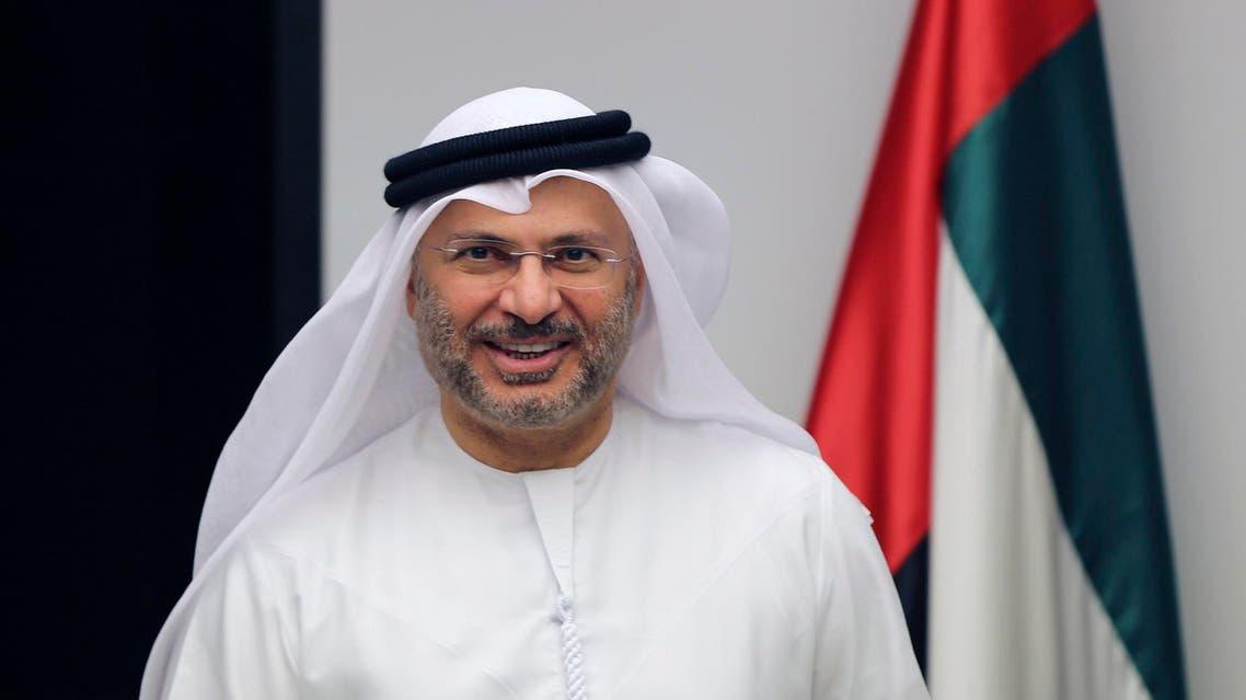 Anwar Gargash arrives for a press conference in Dubai on June 24, 2017. (AP)